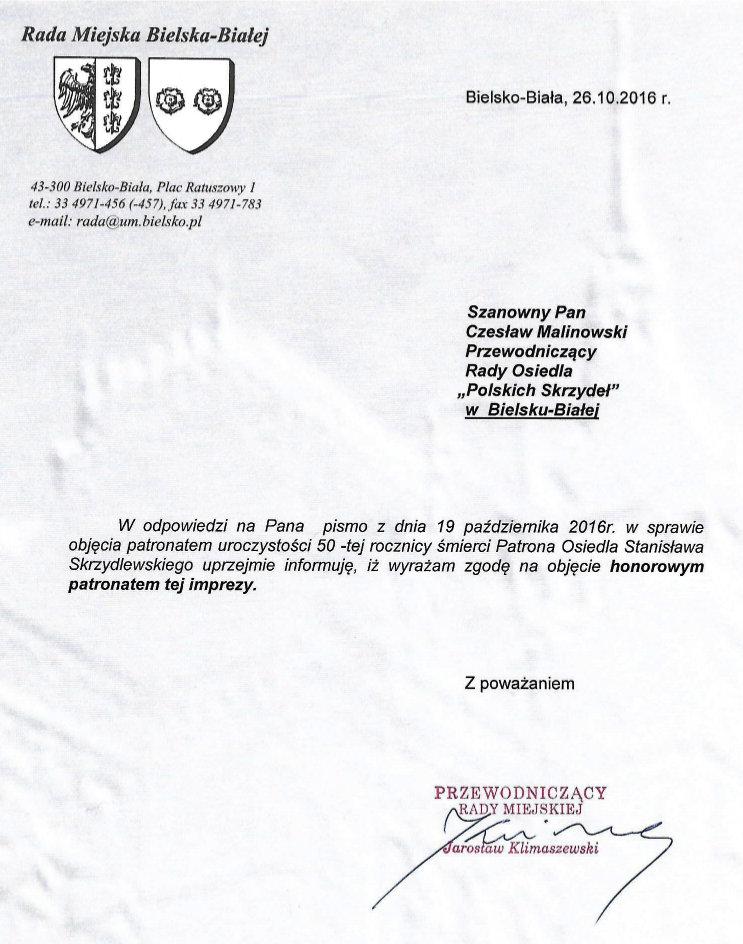 Honorowy patronat Klimaszewski